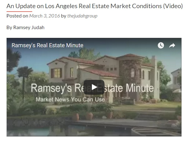 An Update for Buyers on Real Estate Market Conditions in Los Angeles (Video)